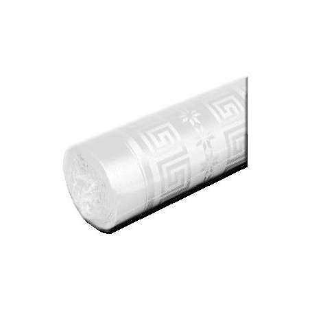 White Tablecloth Damask Paper Width 1.20m - Roll of 50m