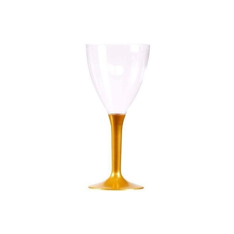 VETRO Vino piede di plastica di cristallo usa e getta oro 16 cl - il 10