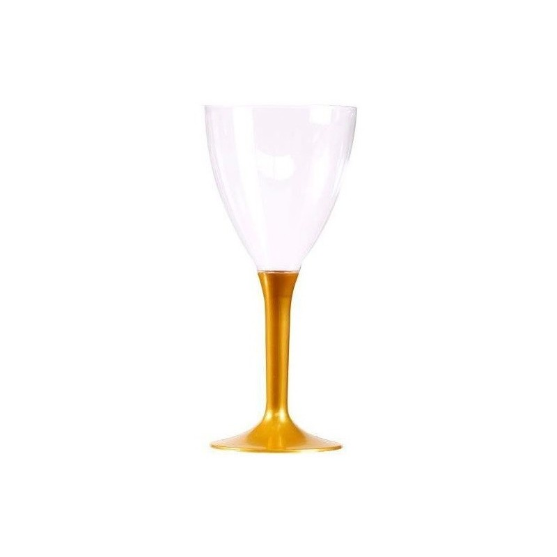 Wine glass gold disposable crystal plastic foot 16 cl - the 10