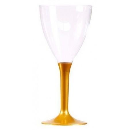 VERRE à Vin pied Or en plastique cristal jetable 16 cl - les 10