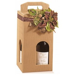 Estuche de cartón KRAFT para 4 botellas con cualquier ventana de 18x18x34 cm.