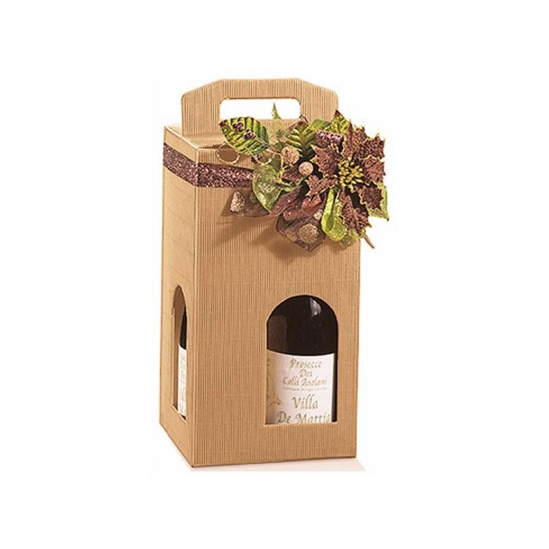 VALISETTE carton KRAFT pour 4 bouteilles avec fenêtre tout format 18x18x34 cm