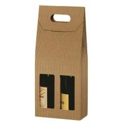 VALISETTE carton KRAFT pour 2 bouteilles avec fenêtre tout format 9x18x41 cm