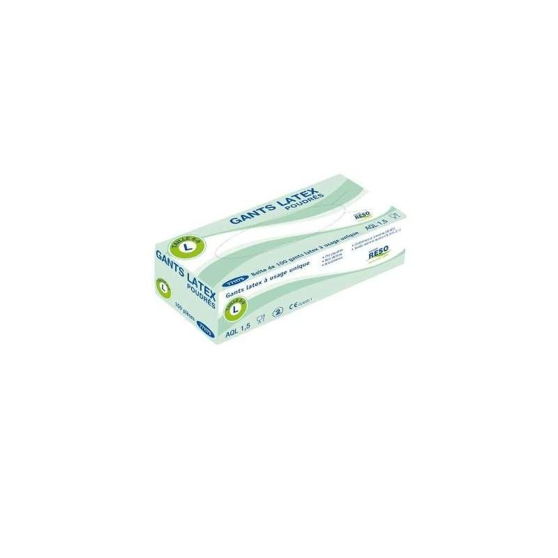 Gants en latex taille S (6/7) à usage unique, boîte distributrice de 100 gants