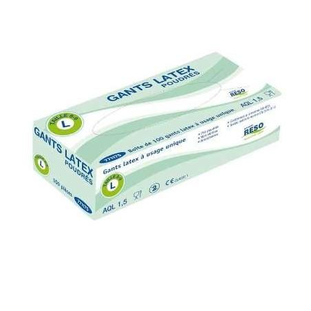 Gants en latex taille XL (9/10) à usage unique, boîte distributrice de 100 gants