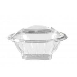 Cuenco de cristal transparente de plástico con tapa 370 cc - años 50