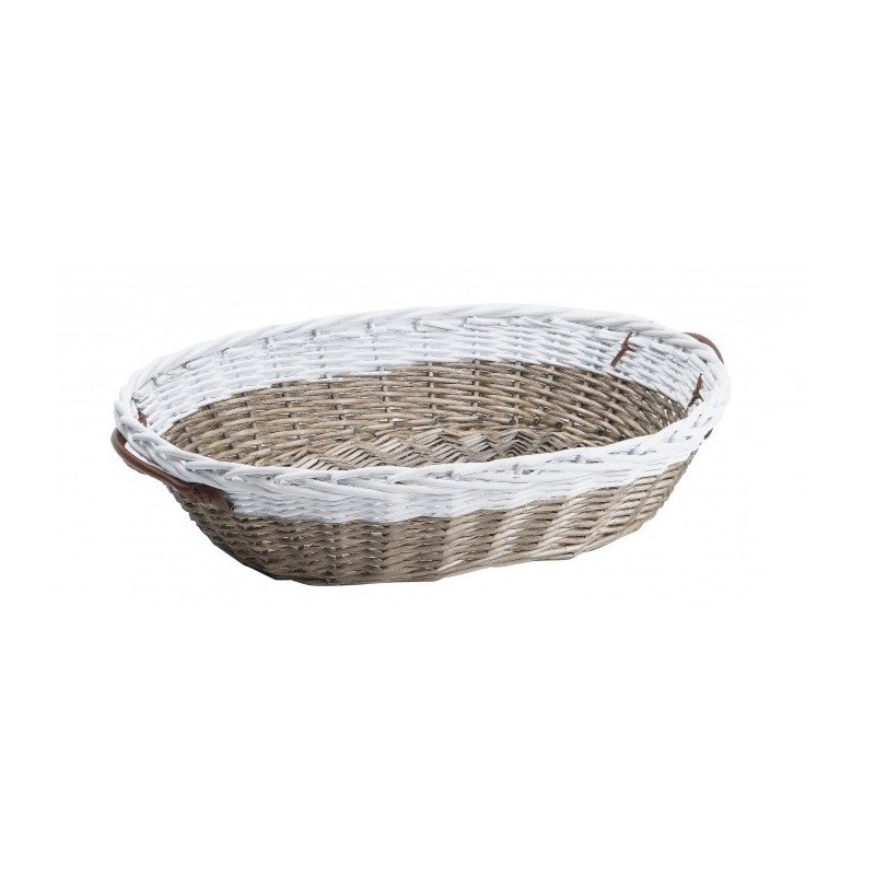 Wicker BASKET Brown and white with handles