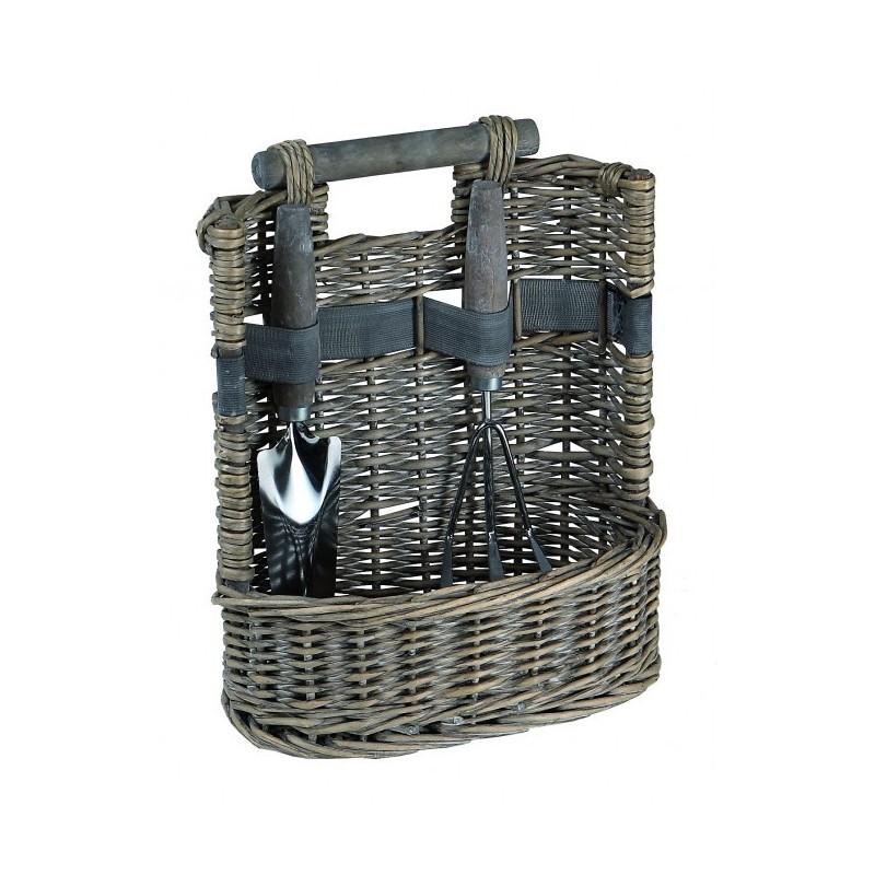 PANIER de Jardin en osier cérusé avec 2 accessoires