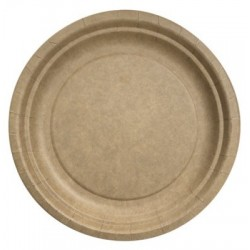 Assiette ronde ø 23 cm Kraft Biodégradable - les 50
