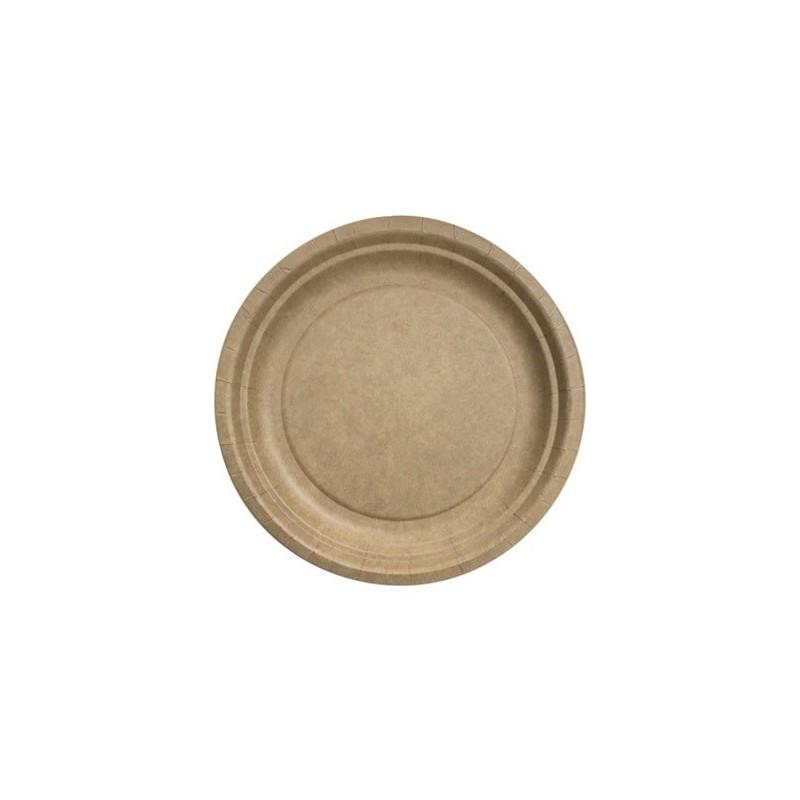 Runde Platte ø 23 cm Kraft Biologisch abbaubar - die 50