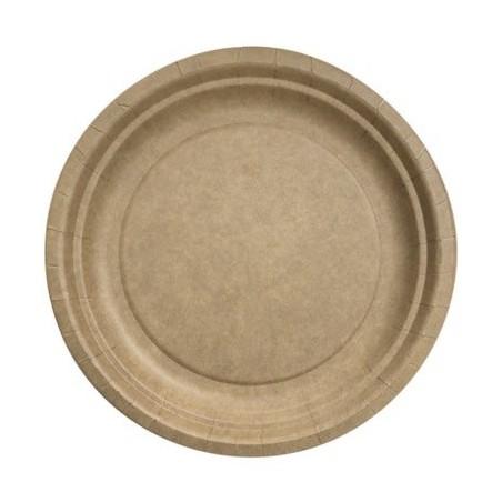 Assiette ronde ø 18 cm Kraft Biodégradable - les 50
