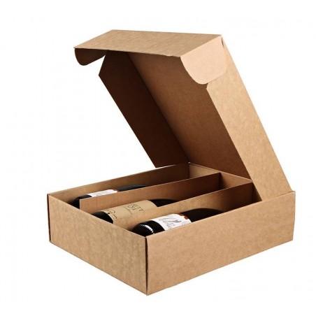 Caja de cartón KRAFT para 3 botellas de vino