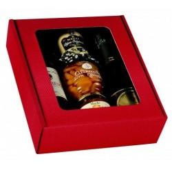 Karton KRAFT RED für 3 Flaschen jeder Größe mit PVC-Sichtfenster