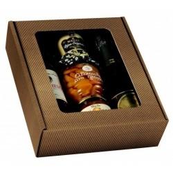 Caja de cartón KRAFT para 3 botellas de cualquier tamaño con ventana de PVC