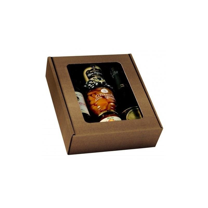 COFFRET carton KRAFT pour 3 bouteilles tout format avec fenêtre PVC