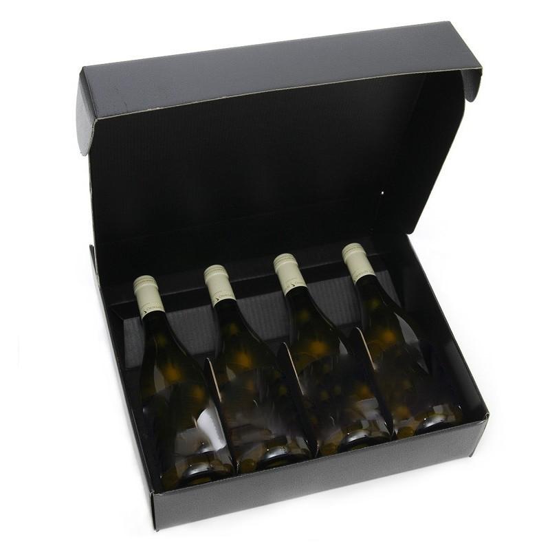 Caja de cartón NEGRO para 4 botellas de todos los tamaños