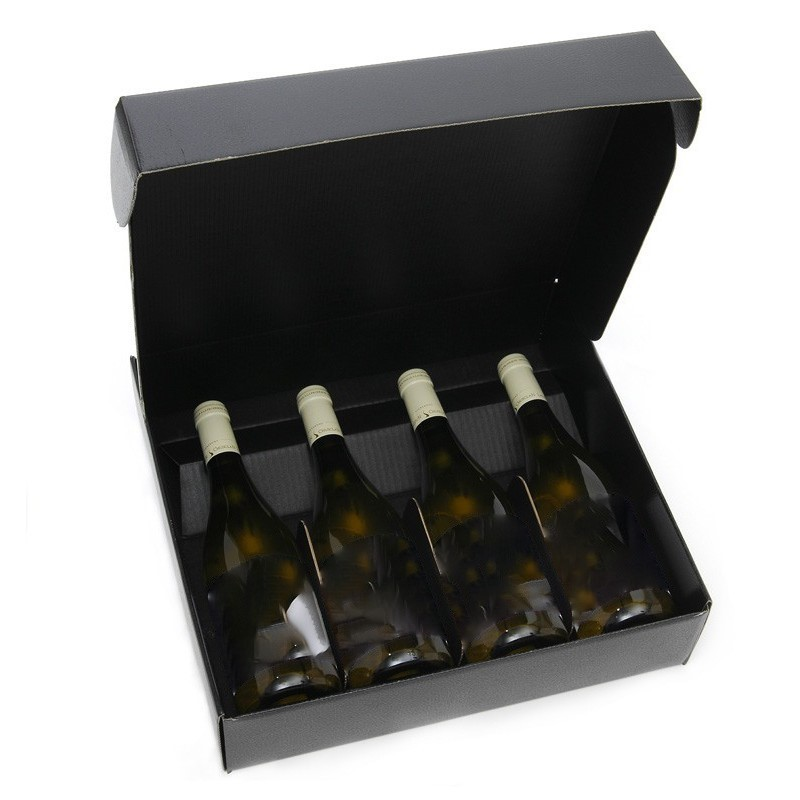 Cardboard box BLACK for 4 bottles all sizes