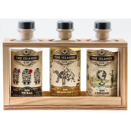 GIN The Islands Spirits in Wooden Box 3 bottles tasting of 20 cl