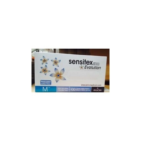 Guantes de nitrilo sin polvo, tamaño S (6/7) Sensitex Evolution desechable, caja dispensadora de 100 guantes