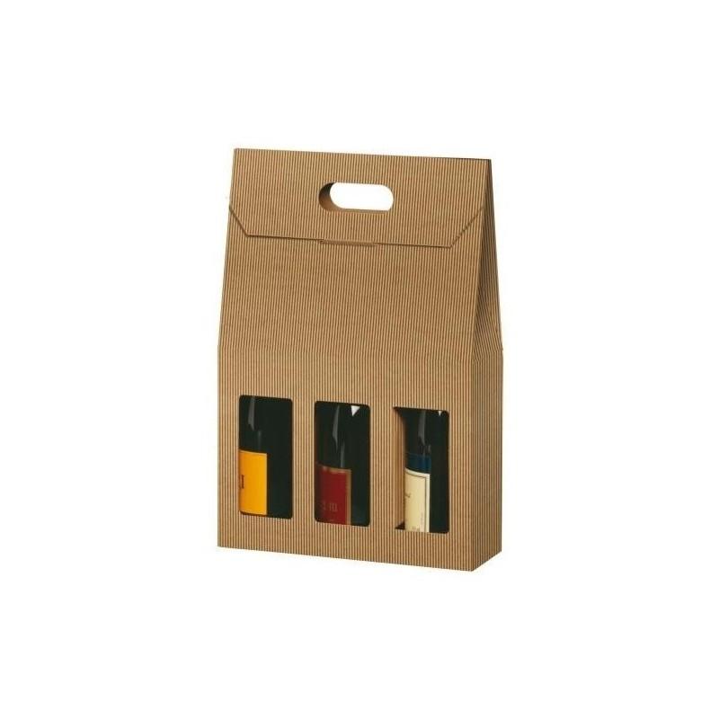 Caja de cartón MALETA KRAFT para 3 botellas con ventana de cualquier tamaño de 9x27x41 cm