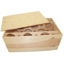 WOODEN CASE for 12 Burgundy bottles with nailed lid and guillotine inside, 2 x 6