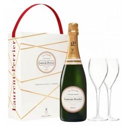 Laurent-Perrier La Cuvée CHAMPAGNE BRUT Vino bianco DOP 75 cl nella sua scatola con 2 flauti SOURIRE DES SAVEURS