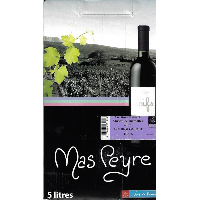 Rage of the Sun Mas Peyre MUSCAT OF RIVESALTES Sweet Natural White Wine AOC BIO Wine Fountain BIB 5 L