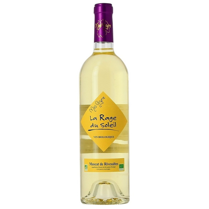 Rage of the Sun Mas Peyre MUSCAT OF RIVESALTES Sweet Natural White Wine AOC 75 cl organic