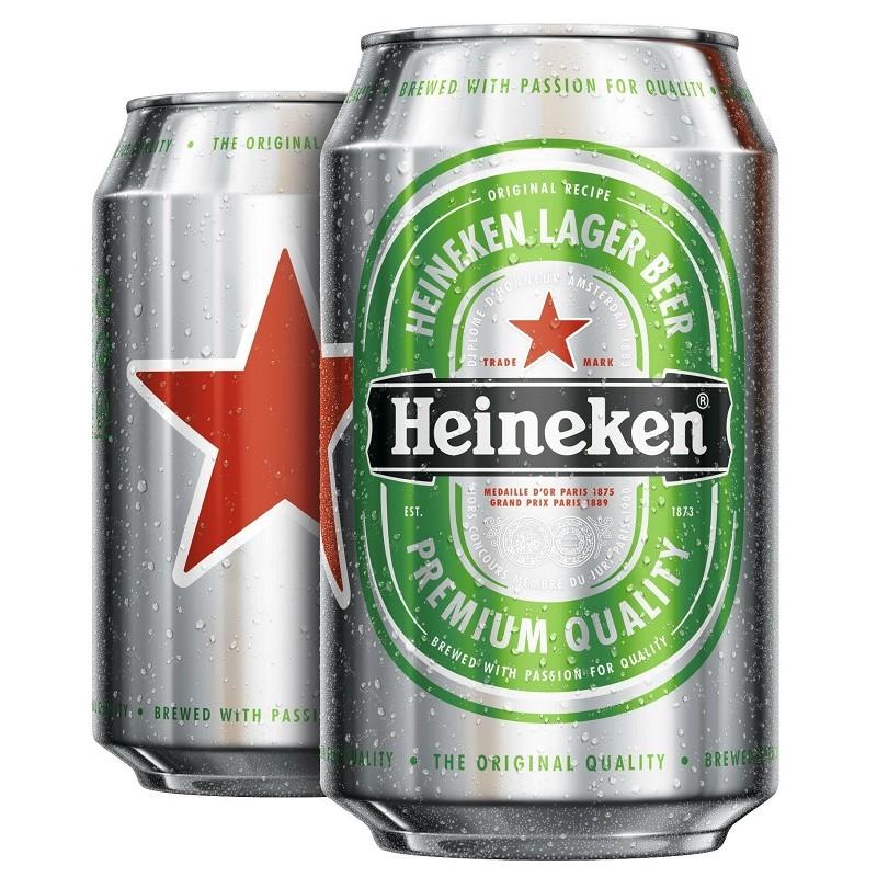La cerveza HEINEKEN Rubia Francés 5 ° caja de metal 33 cl