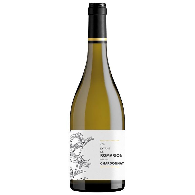 El extracto de Romarion Chardonnay OC vino blanco seco IGP 75 cl