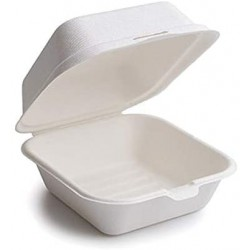BURGER CATERING BOX with lid 15x15x7 cm White cane fiber - the 25