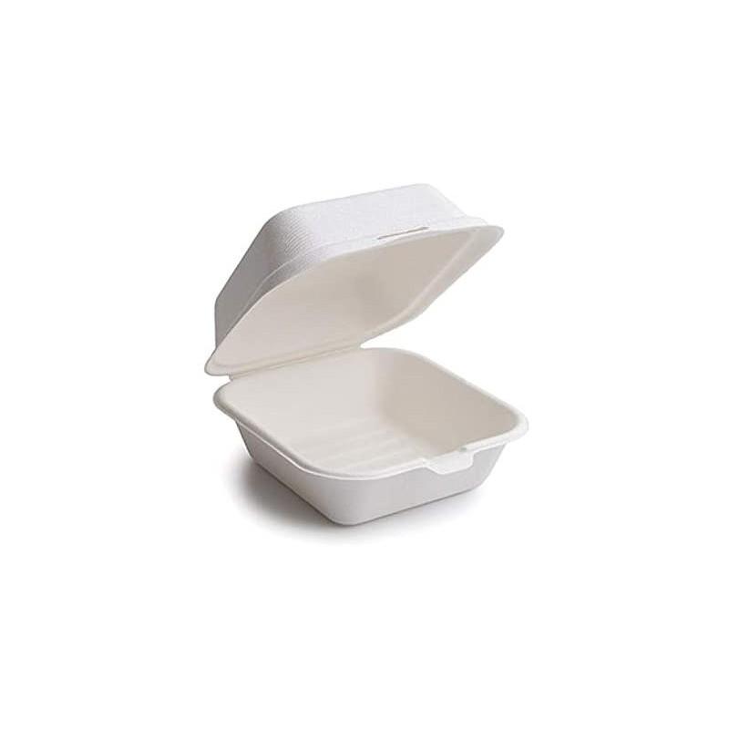 BOITE TRAITEUR BURGER avec couvercle 15x15x7 cm Fibre de canne blanc - les 25