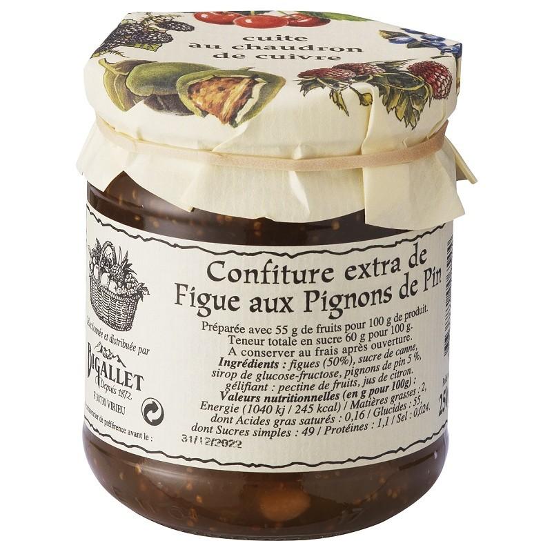 CONFITURE de Figue aux Pignons Pin Bigallet cuite au chaudron - Bocal de 250 g