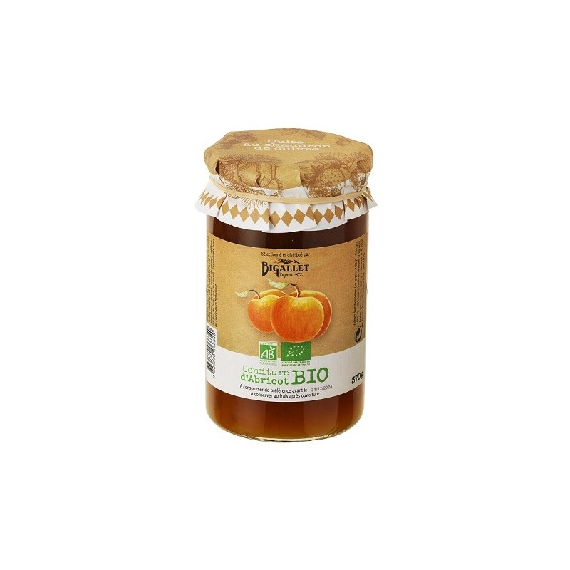 Organic Bigallet Apricot JAM cooked in a cauldron - 370 g jar