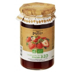 ORGANIC Bigallet Strawberry JAM cooked in a cauldron - 370 g jar