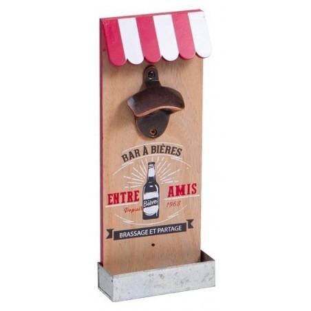 Wandmontage Flaschenöffner aus Holz und Metall BIERSTANGE