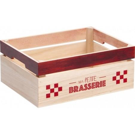 Caja de madera Rojo y natural Mi pequeña cervecería