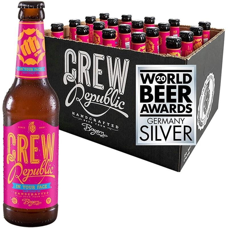 Cerveza CREW REPUBLIC IN YOUR FACE Rubia IPA Alemana 6.8 ° 33 cl