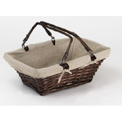 BASKET-Francine-Wicker brown / canvas Jute
