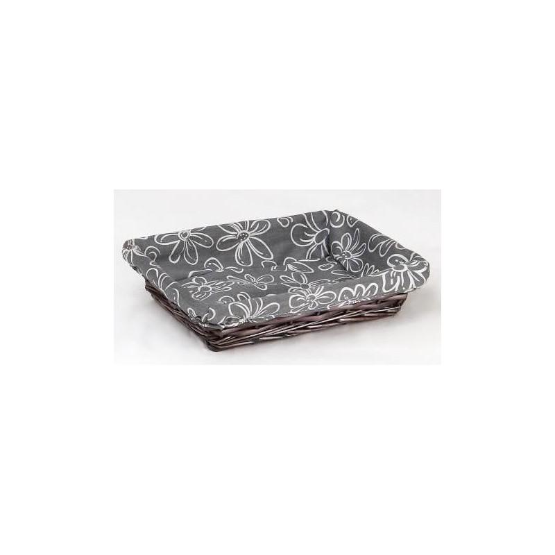 CORBEILLE -Aalis G- Osier + tissus gris et blanc